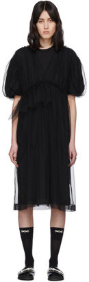 Simone Rocha Black Puff Sleeve Babydoll Mid-Length Dress