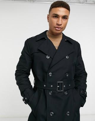 ASOS DESIGN shower resistant longline trench coat with belt in black