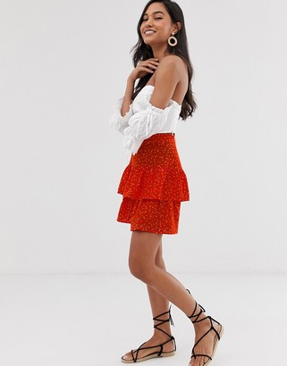 Ichi spotty tiered mini skirt