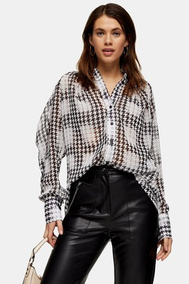 Topshop Black And White Houndstooth Shirt