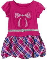 Nannette Toddler Girl Plaid Bubble Skirt Knit Dress