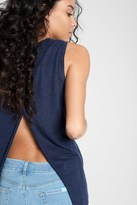 7 For All Mankind Linen Tank With Split Back In Navy