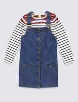 Marks and Spencer Pure Cotton Long Sleeve Pinny Dress (1-7 Years)
