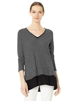 Vince Camuto Women's Double Layer Mix Media Top