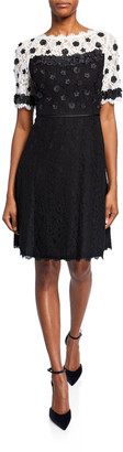 Shani Colorblock Fit-&-Flare Lace Dress w/ Floral Applique