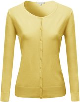 Made by Emma Basic Classic Round Neck Button Up High Quality Cardigan White L
