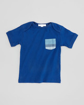 Burberry Check-Patch Pocket Tee, Bright Navy Blue, 18M-2Y