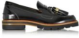 Stuart Weitzman Manila Black Mirror Leather Tassel Loafer