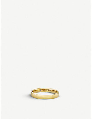 De Beers Women's Wide Court Yellow Gold Wedding Band, Size: 52mm