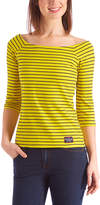 U.S. Polo Assn. Yellow Stripe Elbow-Sleeve Square Boatneck Top