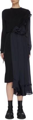 Sacai Tie waist asymmetric chiffon detail knit dress