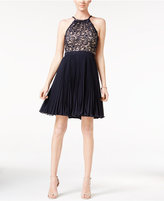 Xscape Evenings Pleated Lace Fit & Flare Dress