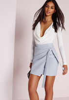 Missguided Wrap Front Faux Leather Mini Skirt Blue
