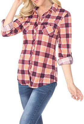 Oakley WHITE MARK White Mark Plaid Womens Long Sleeve Button-Front Shirt