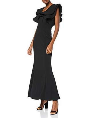 Quiz Women's Black Double Frill V Neck Maxi Dress Party 001, (Size:)