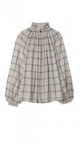 Tibi Beebe Plaid Shirting Edwardian Top