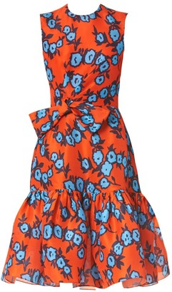 Carolina Herrera Floral Silk Gathered Bow Dress