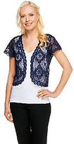 Liz Claiborne New York Short Sleeve Open Front Lace Shrug