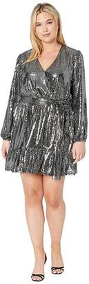 MICHAEL Michael Kors Size Micro Dot Crossover Dress (Black/Silver) Women's Clothing