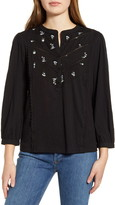 Lucky Brand Embroidered Yoke Cotton Peasant Blouse