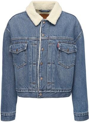 Levi's Faux Shearling Crop Denim Jacket