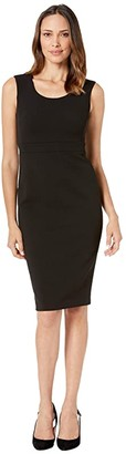 Calvin Klein Solid Sheath Dress (Black) Women's Dress
