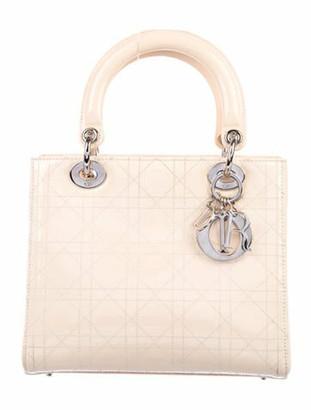 Christian Dior Medium Patent Lady w/ Strap Silver