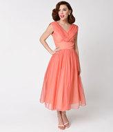 Coral Chiffon Dresses - ShopStyle