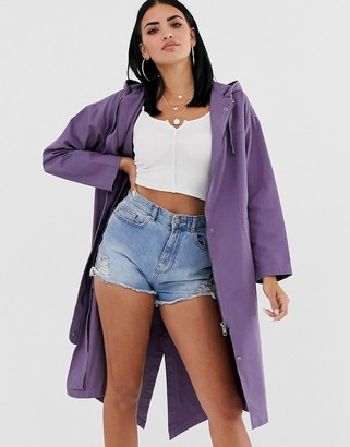 Asos Design DESIGN longline parka in mauve-Purple