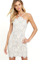 LuLu*s Delicate Darling Beige and Ivory Lace Bodycon Dress