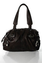 B. Makowsky Chocolate Brown Top Stitch Detail Medium Shoulder Handbag