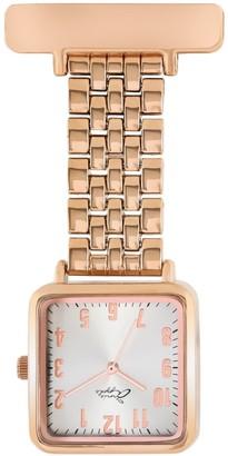 Bermuda Watch Company Annie Apple Square Silver/Rose Gold Link Bracelet Watch