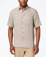 Tasso Elba Men's Big and Tall Silk Linen Tile-Print Short-Sleeve Shirt, Classic Fit