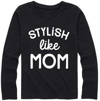 Instant Message Girls' Tee Shirts BLACK - Black 'Stylish Like Mom' Long-Sleeve Tee - Girls