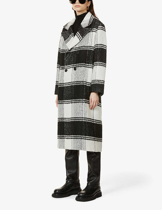 AllSaints Lottie check-print double-breasted woven coat