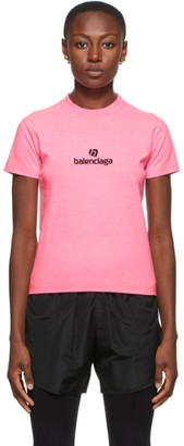 Balenciaga Pink Sponsor Logo T-Shirt