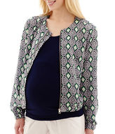 Asstd National Brand Maternity Print Bomber Jacket - Plus