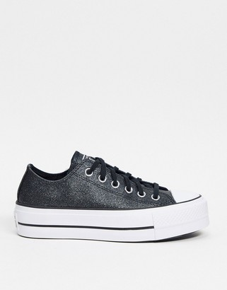 Converse Chuck Taylor All Star platform low trainers in black glitter