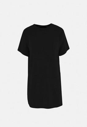 Missguided Black Slinky Oversized Night T Shirt Dress
