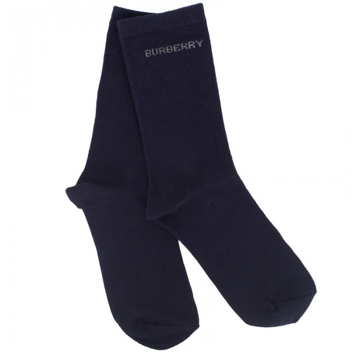 Burberry Navy Branded Socks