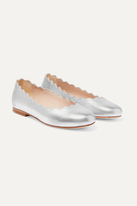 Chloé Kids Kids - Sizes 29 - 35 Scalloped Metallic Leather Ballet Flats