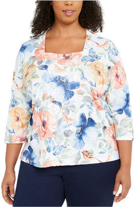 Alfred Dunner Plus Size Beaded Butterfly Print Top
