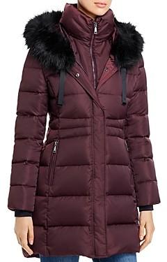 T Tahari Stephanie Faux Fur Trim Puffer Coat