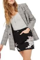 Topshop Lace Applique Denim Skirt