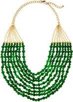Kenneth Jay Lane Eight-Strand Green Bead Bib Necklace