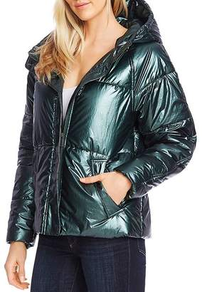 Vince Camuto Muted Metallic Cropped Puffer Jacket