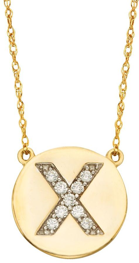 10k Gold 1/10 Carat T.W. Diamond Initial Necklace