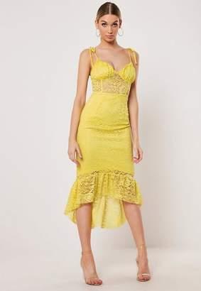 Missguided Lace Cami Tie Strap Dip Hem Midi Dress