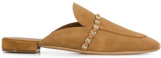 Salvatore Ferragamo Vara chain suede slippers