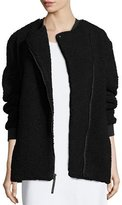 KENDALL + KYLIE Boucle Asymmetric Zip Coat, Black